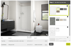 Image with 3 layers (bathroom, shower base, shower walls)